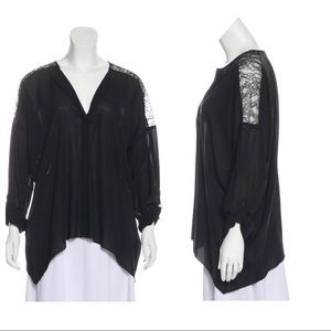 Alice + Olivia Lace-Accented Blouse